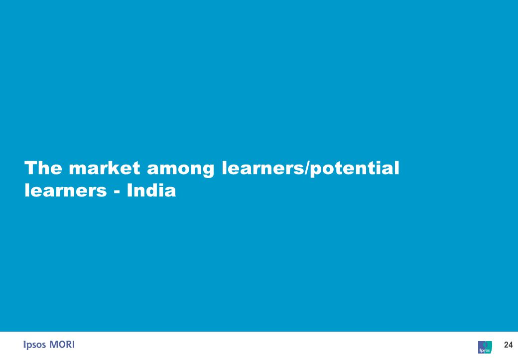 24 The market among learners/potential learners - India