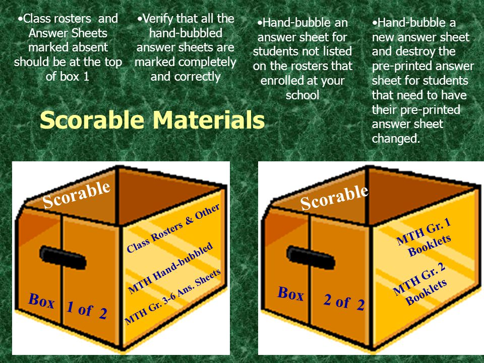 SCANNING AND SCORING Scorable Materials and Non-scorable materials must be packaged… … separately.