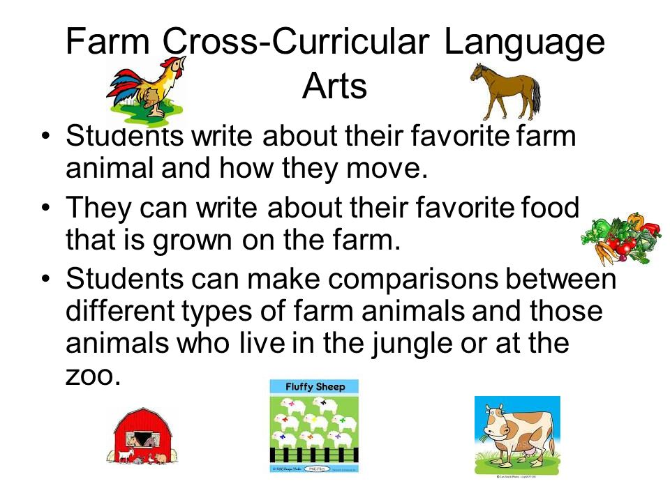 Farm Cross-Curricular Language Arts Students write about their favorite farm animal and how they move.