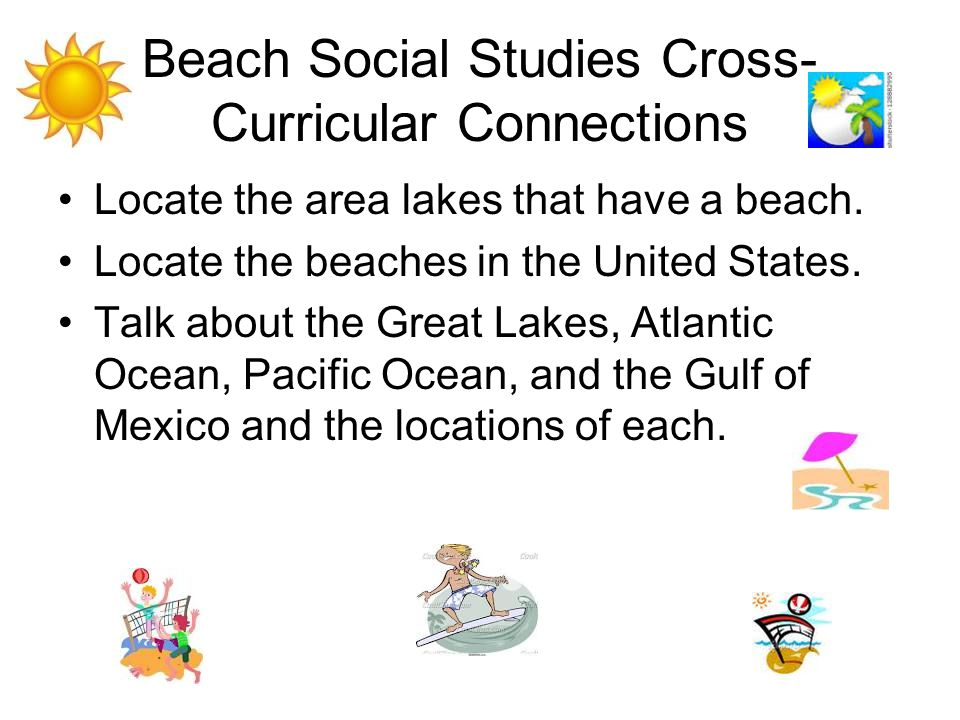 Beach Social Studies Cross- Curricular Connections Locate the area lakes that have a beach.