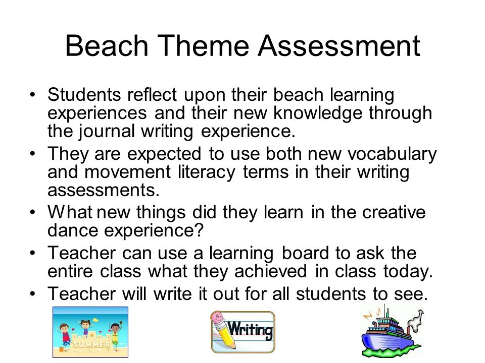 Beach Theme Assessment Students reflect upon their beach learning experiences and their new knowledge through the journal writing experience.