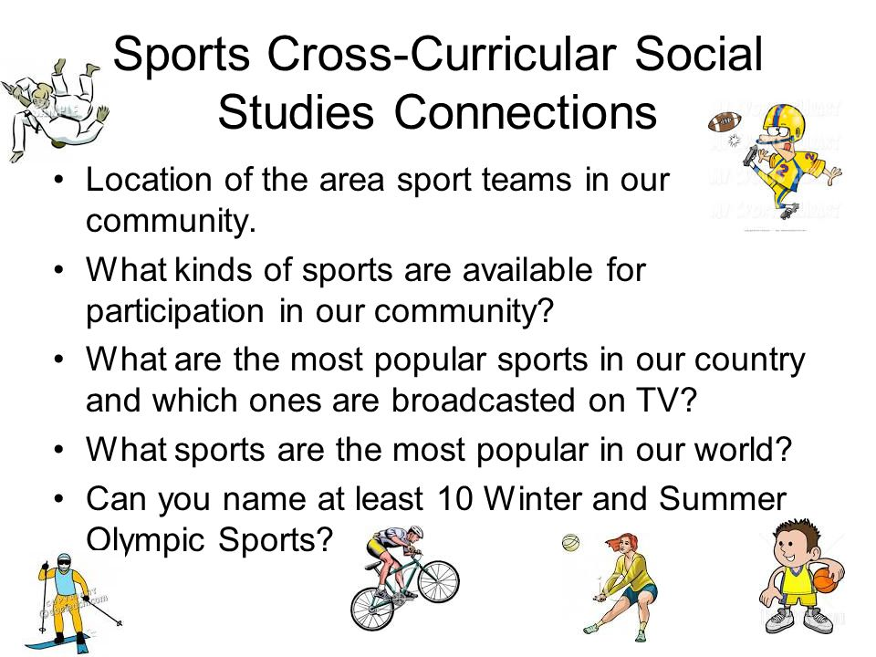 Sports Cross-Curricular Social Studies Connections Location of the area sport teams in our community.