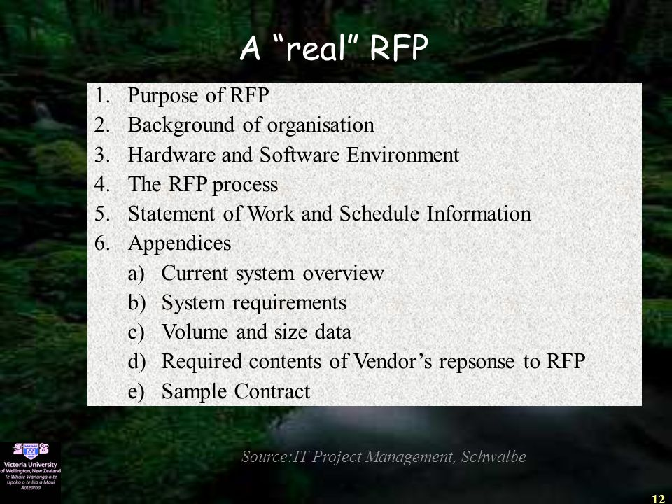 "12 A ""real"" RFP Source:IT Project Management, Schwalbe 1.Purpose of RFP 2.Background of organisation 3.Hardware and Software Environment 4.The RFP pro"
