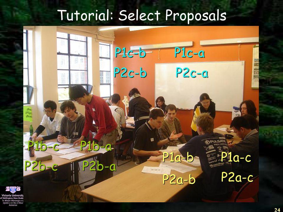 24 Tutorial: Select Proposals P1c-bP1c-a P2c-bP2c-a P1b-cP1b-a P2b-cP2b-a P1a-bP1a-c P2a-b P2a-c