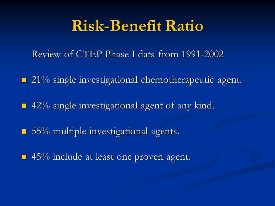 Risk-Benefit Ratio Review of CTEP Phase I data from 1991-2002 21% single investigational chemotherapeutic agent.