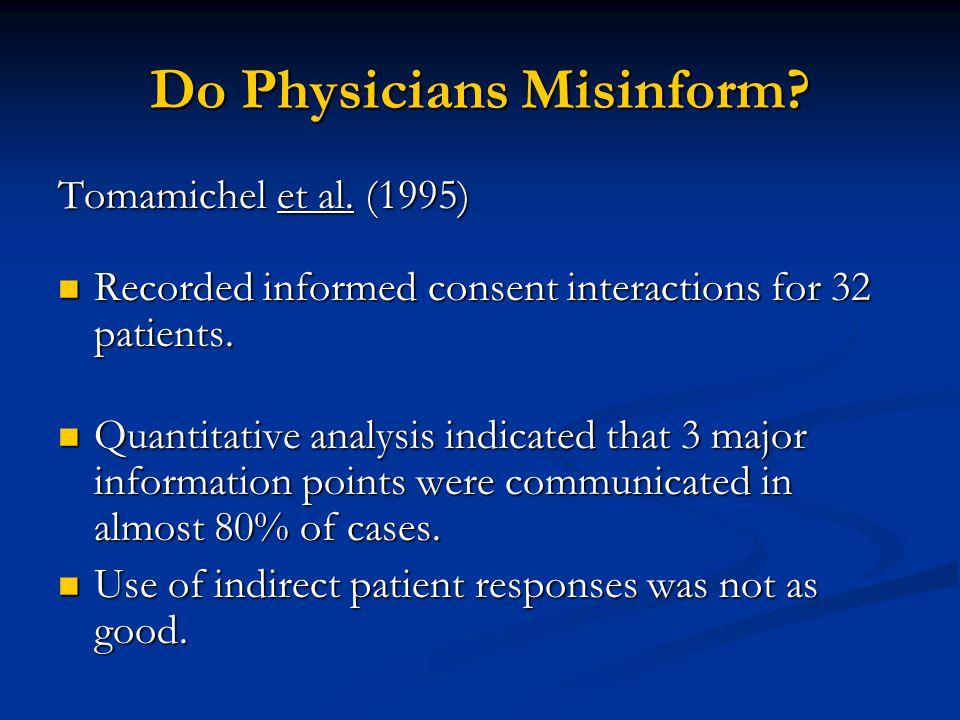 Do Physicians Misinform. Tomamichel et al.