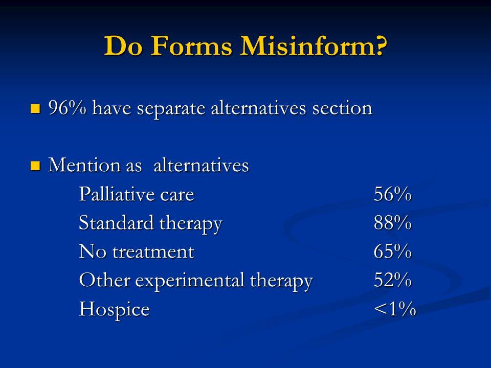 Do Forms Misinform? 96% have separate alternatives section 96% have separate alternatives section Mention as alternatives Mention as alternatives Pall