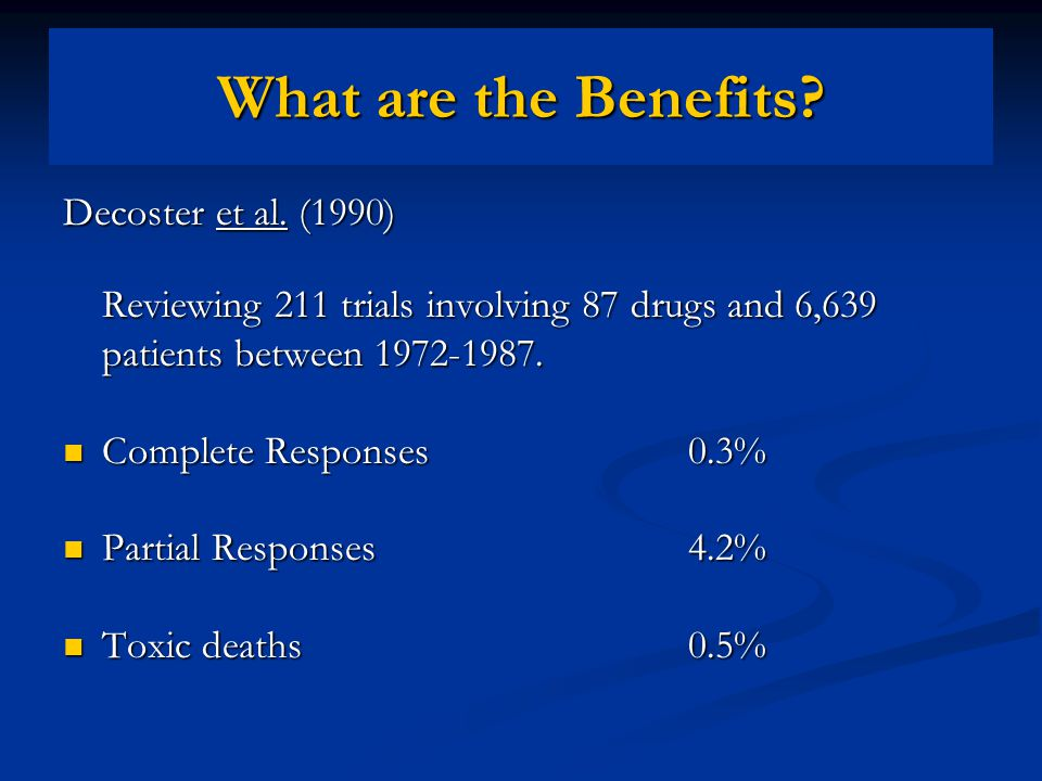 Estey et al.(1986) Reviewing 187 trials involving 54 drugs and 6,447 patients between 1974-1982.