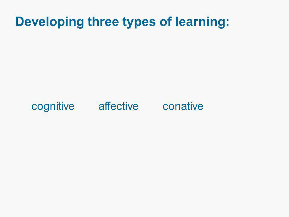 Developing three types of learning: cognitive affective conative