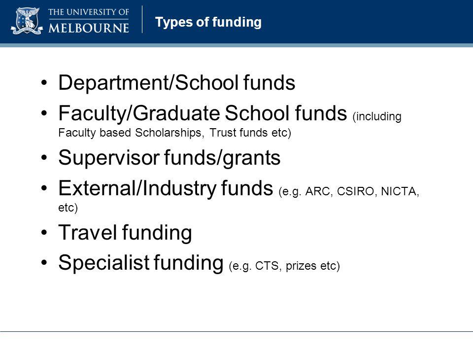 Types of funding Department/School funds Faculty/Graduate School funds (including Faculty based Scholarships, Trust funds etc) Supervisor funds/grants