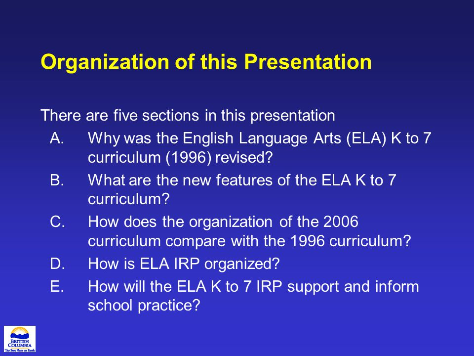 D.How is the English Language Arts IRP organized.