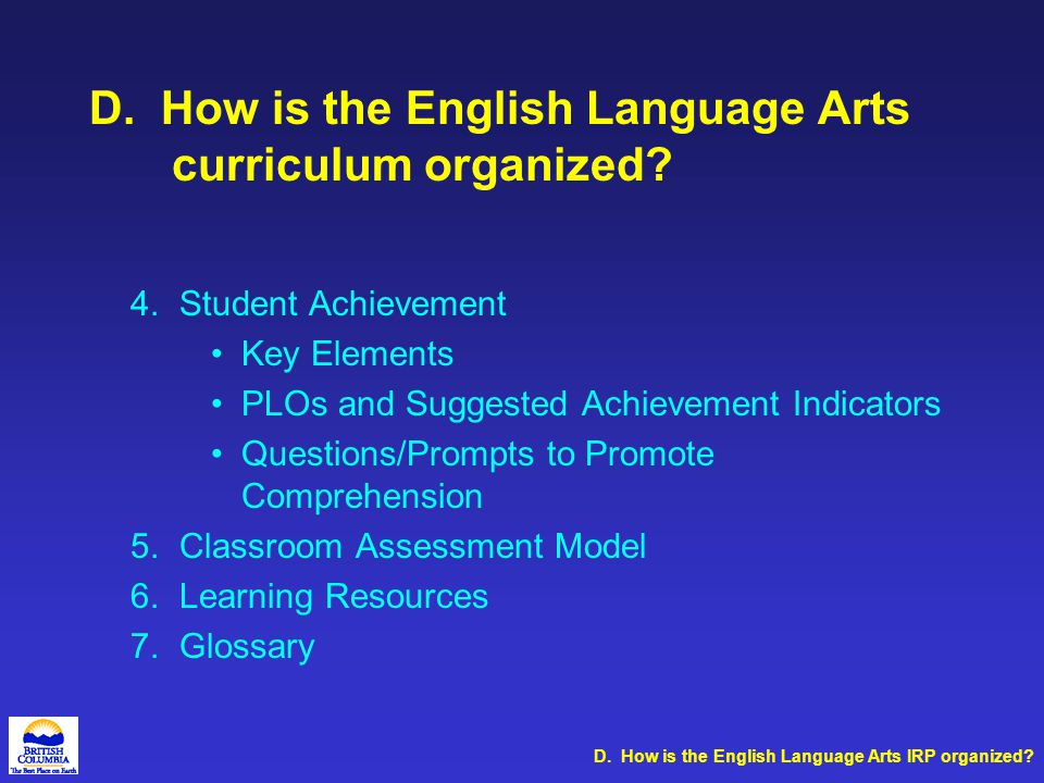 Introduction Curriculum Organizers and Suborganizers