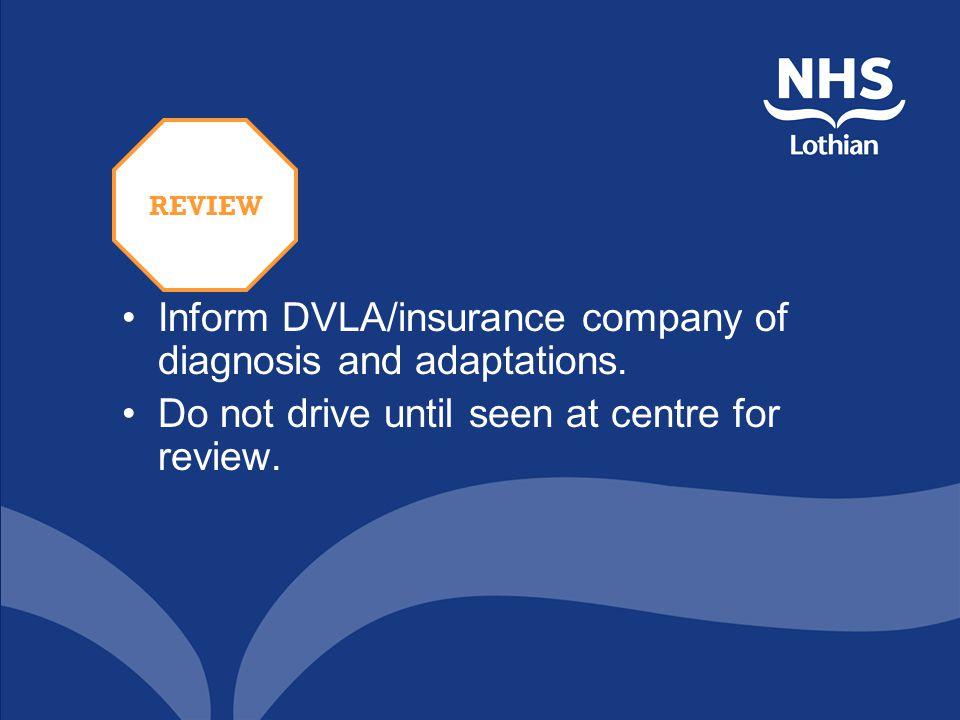 Inform DVLA/insurance company of diagnosis and adaptations.