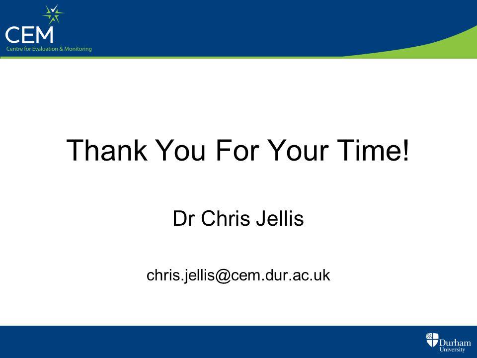 Thank You For Your Time! Dr Chris Jellis chris.jellis@cem.dur.ac.uk