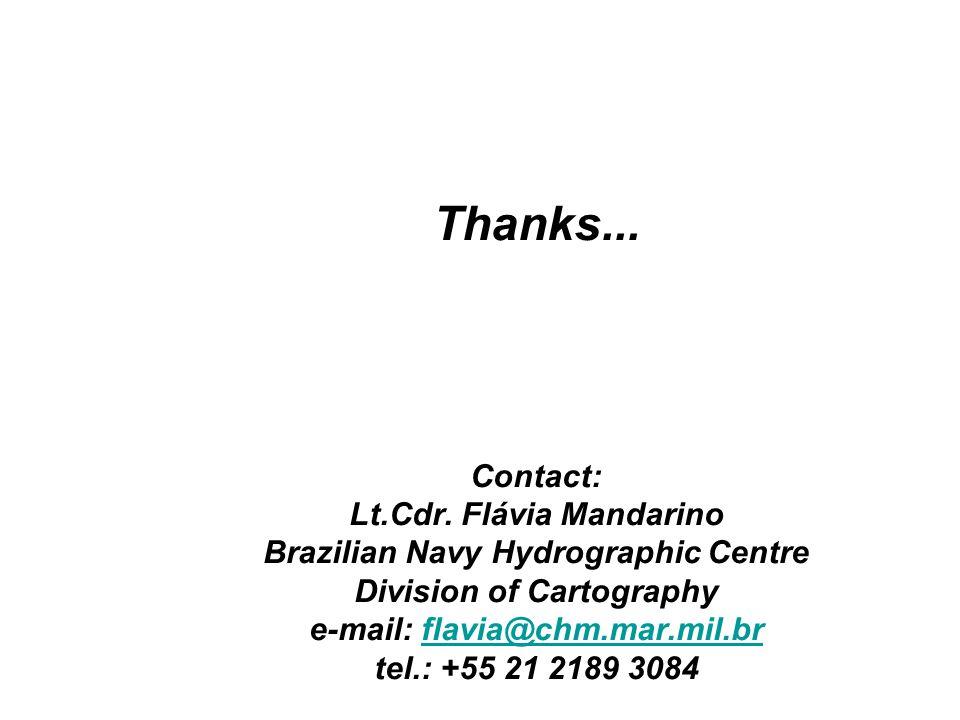 Thanks... Contact: Lt.Cdr. Flávia Mandarino Brazilian Navy Hydrographic Centre Division of Cartography e-mail: flavia@chm.mar.mil.br tel.: +55 21 2189