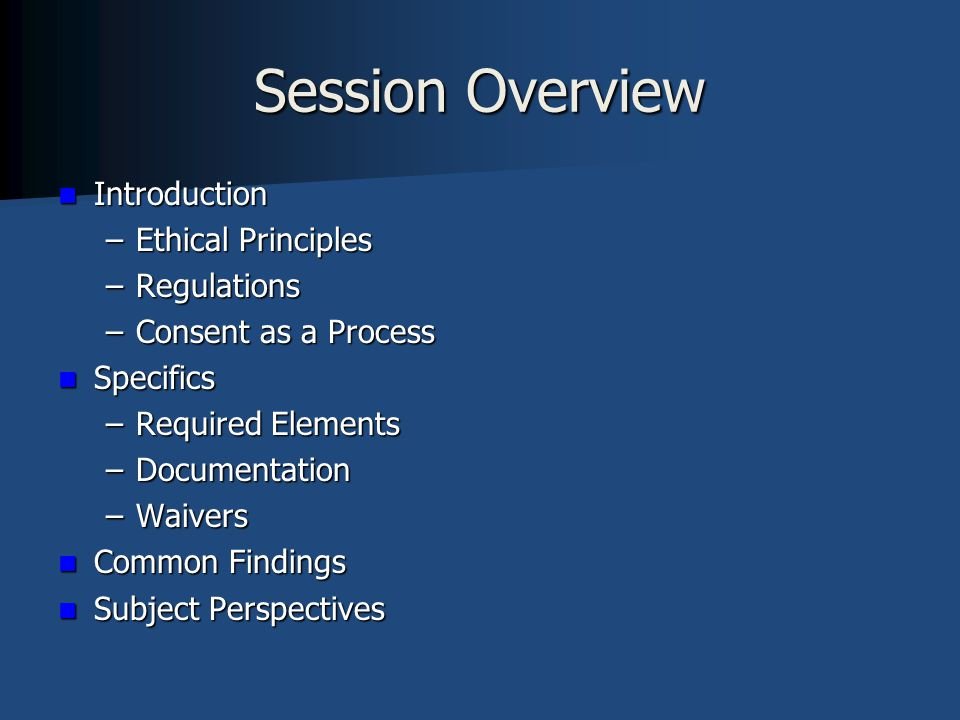 Informed Consent Basic Ethical Principles for the Protection of Human Subjects in Research Basic Ethical Principles for the Protection of Human Subjects in Research –Belmont Report  Established in 1979 by the National Commission for the Protection of Human Subjects of Biomedical and Behavioral Research  Ethical Principles and Guidelines for the Protection of Human Subjects in Research  Respect for Persons  Beneficence  Justice