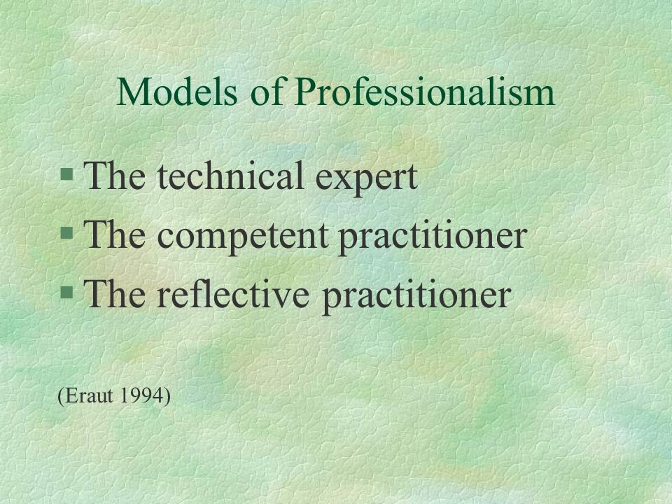 FE Lecturers as professionals §Technical expertise within own subject area §Competent practitioners through achieving the TQFE occupation standards §Reflective practitioners through in-depth engagement with theory on the Stirling TQFE