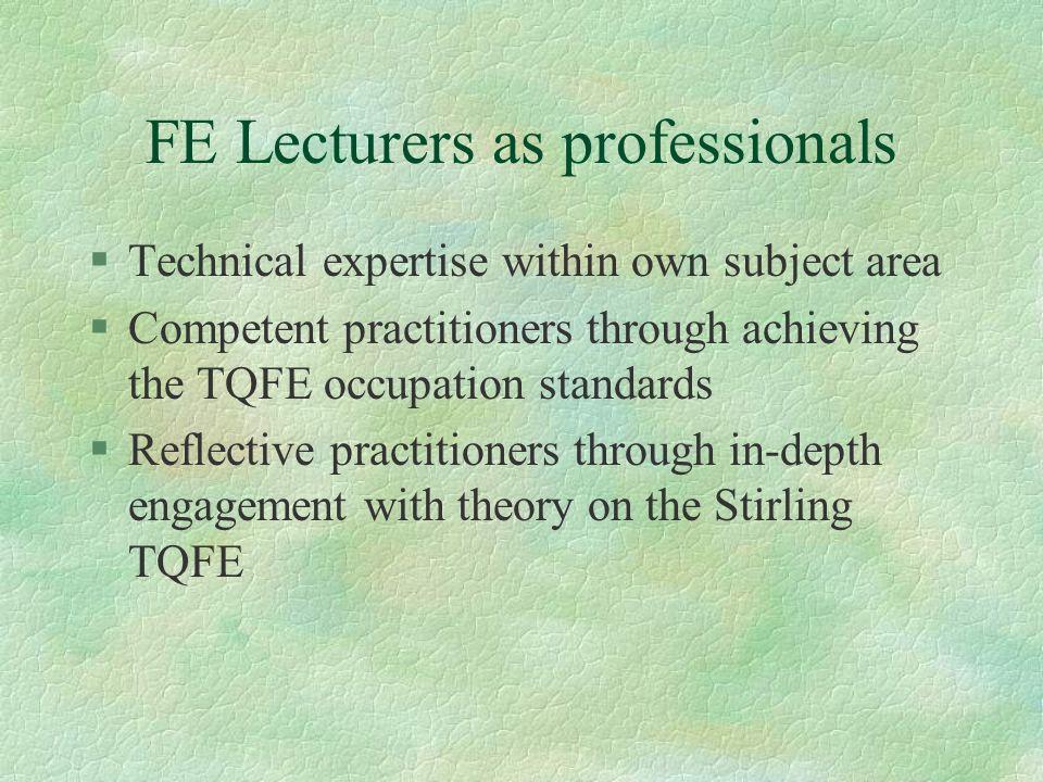 TQFE impact on professional development § I have found the TQFE course very rewarding.
