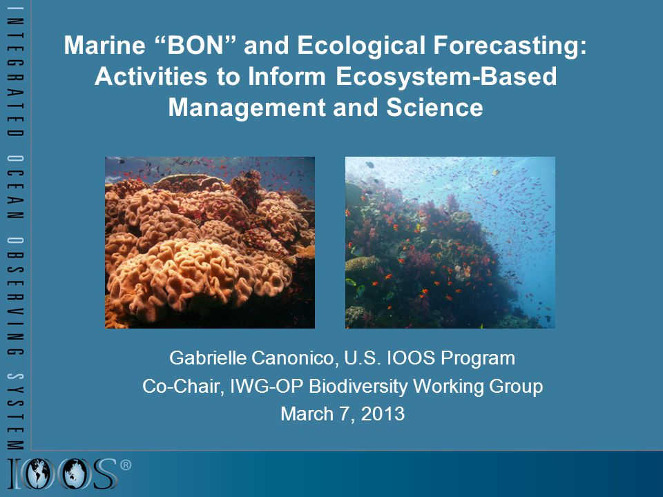 Marine BON and Ecological Forecasting: Activities to Inform Ecosystem-Based Management and Science Gabrielle Canonico, U.S.
