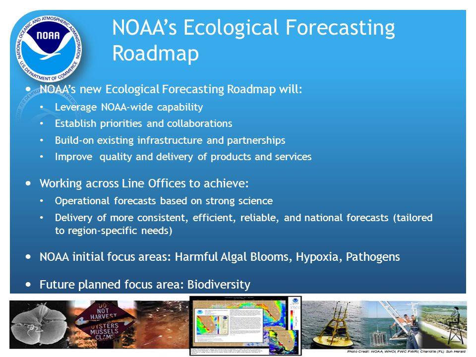 NOAA's Ecological Forecasting Roadmap NOAA's new Ecological Forecasting Roadmap will: Leverage NOAA-wide capability Establish priorities and collaborations Build-on existing infrastructure and partnerships Improve quality and delivery of products and services Working across Line Offices to achieve: Operational forecasts based on strong science Delivery of more consistent, efficient, reliable, and national forecasts (tailored to region-specific needs) NOAA initial focus areas: Harmful Algal Blooms, Hypoxia, Pathogens Future planned focus area: Biodiversity
