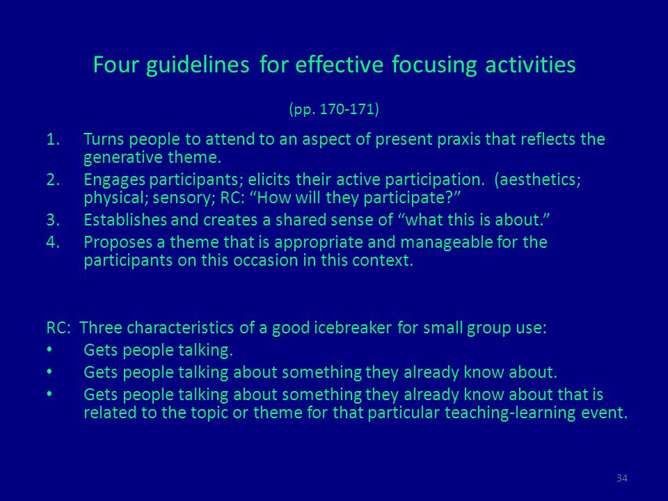 34 Four guidelines for effective focusing activities (pp.