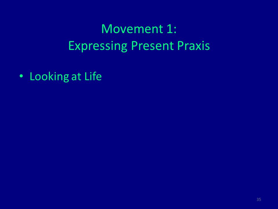 35 Movement 1: Expressing Present Praxis Looking at Life