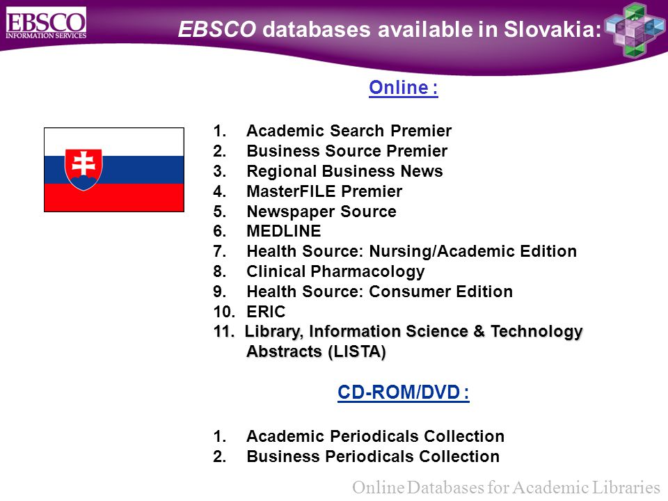 Online Databases for Academic Libraries EBSCO databases available in Slovakia: Online : 1.Academic Search Premier 2.Business Source Premier 3.Regional Business News 4.MasterFILE Premier 5.Newspaper Source 6.MEDLINE 7.Health Source: Nursing/Academic Edition 8.Clinical Pharmacology 9.Health Source: Consumer Edition 10.ERIC 11.
