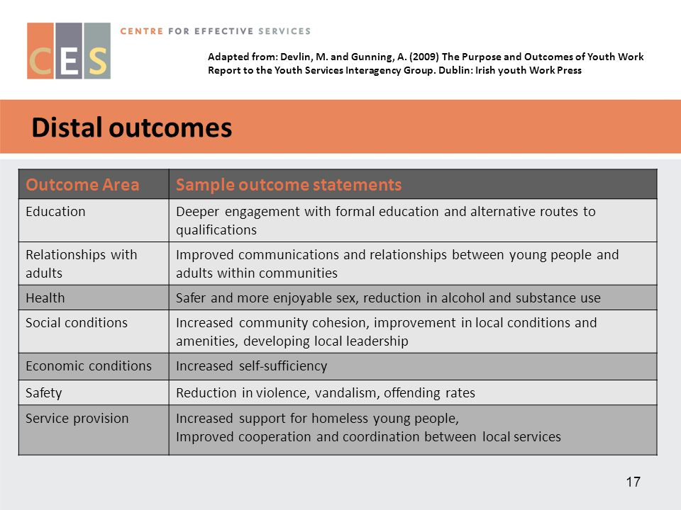 17 Distal outcomes Outcome AreaSample outcome statements EducationDeeper engagement with formal education and alternative routes to qualifications Rel