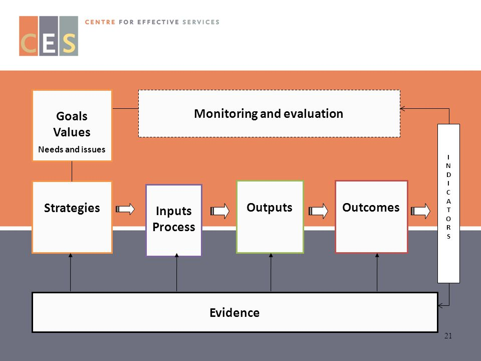 21 Monitoring and evaluation Strategies Inputs Process Outputs Outcomes Evidence Goals Values Needs and issues INDICATORS INDICATORS