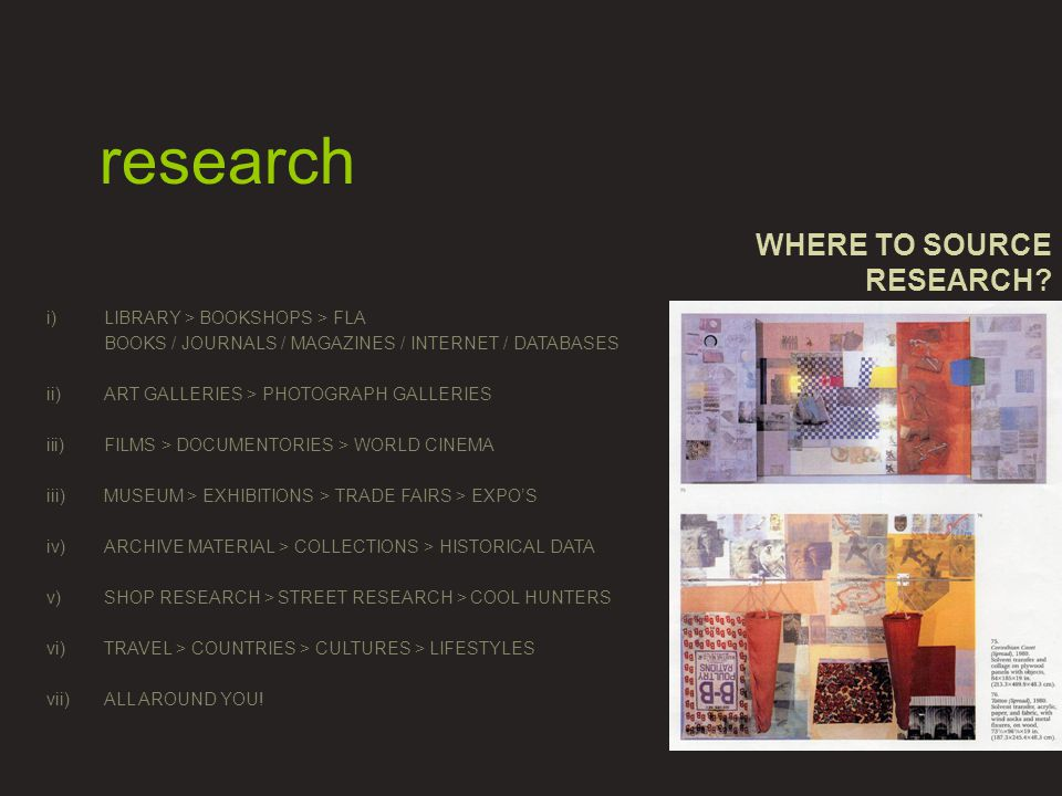 WHERE TO SOURCE RESEARCH.