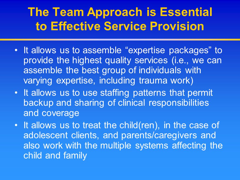 """The Team Approach is Essential to Effective Service Provision It allows us to assemble """"expertise packages"""" to provide the highest quality services (i"""