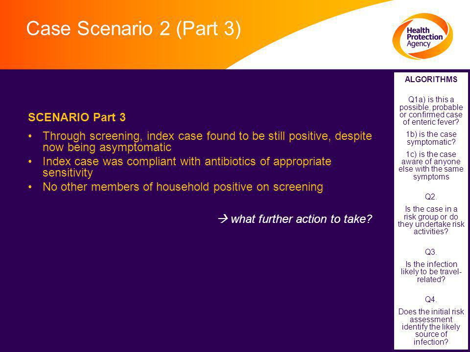 Case Scenario 2 (Part 3) SCENARIO Part 3 Through screening, index case found to be still positive, despite now being asymptomatic Index case was compliant with antibiotics of appropriate sensitivity No other members of household positive on screening  what further action to take.
