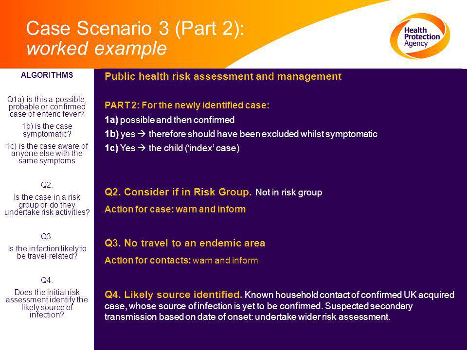 Case Scenario 3 (Part 2): worked example Public health risk assessment and management PART 2: For the newly identified case: 1a) possible and then confirmed 1b) yes  therefore should have been excluded whilst symptomatic 1c) Yes  the child ('index' case) Q2.