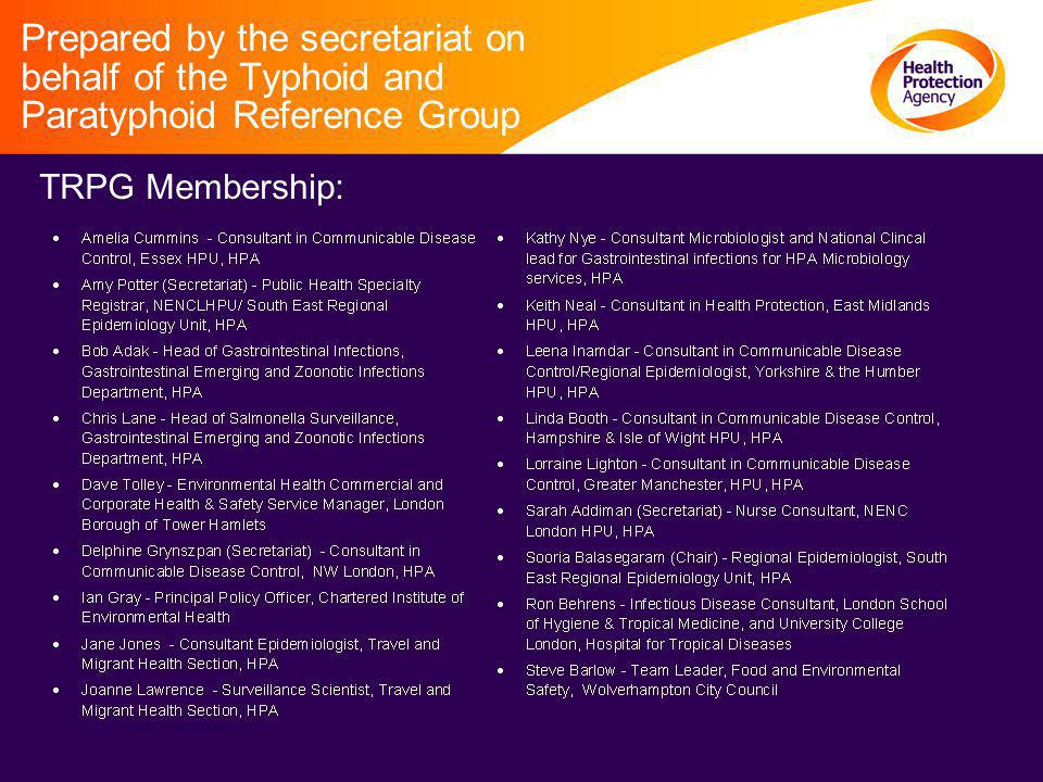 Prepared by the secretariat on behalf of the Typhoid and Paratyphoid Reference Group TRPG Membership: