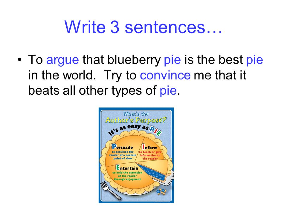 Write 3 sentences… To argue that blueberry pie is the best pie in the world. Try to convince me that it beats all other types of pie.