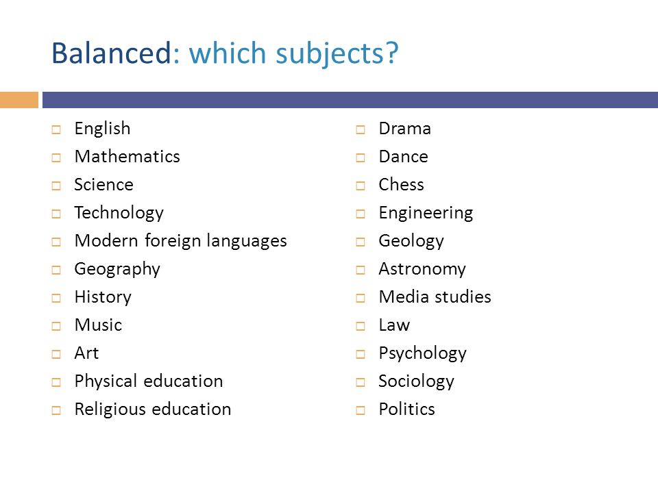 Balanced: which subjects.