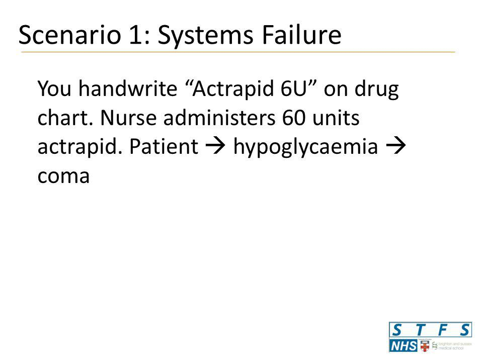 You handwrite Actrapid 6U on drug chart.Nurse administers 60 units actrapid.