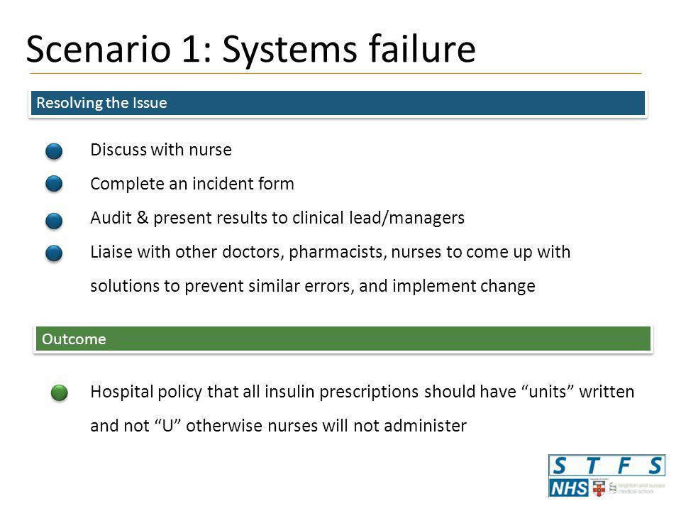 Scenario 1: Systems failure Resolving the Issue Discuss with nurse Complete an incident form Audit & present results to clinical lead/managers Liaise with other doctors, pharmacists, nurses to come up with solutions to prevent similar errors, and implement change Outcome Hospital policy that all insulin prescriptions should have units written and not U otherwise nurses will not administer