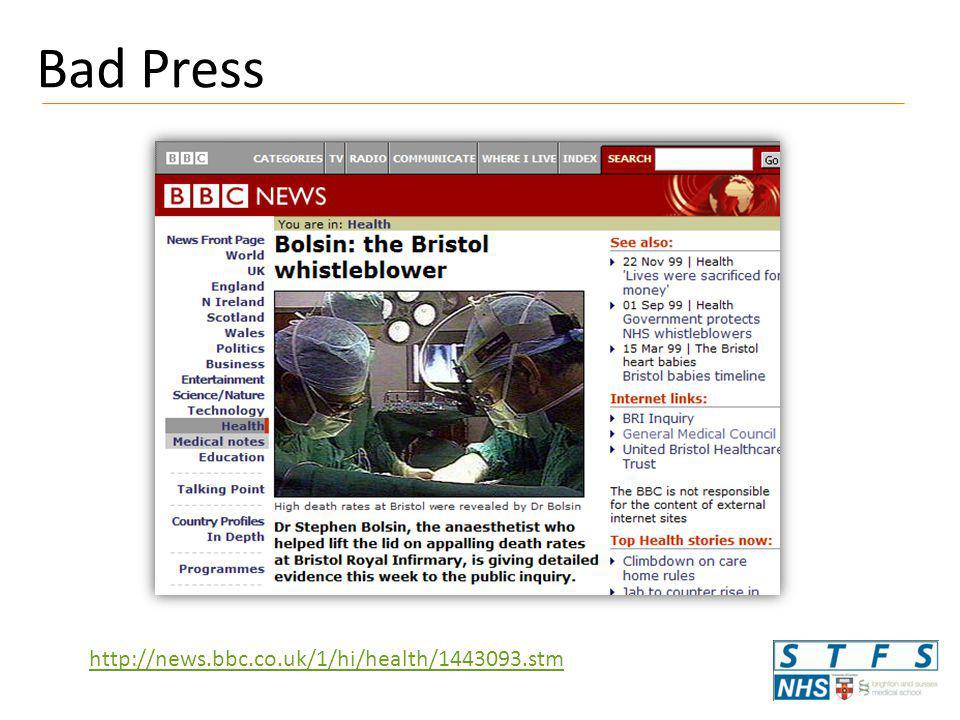 Bad Press http://news.bbc.co.uk/1/hi/health/1443093.stm