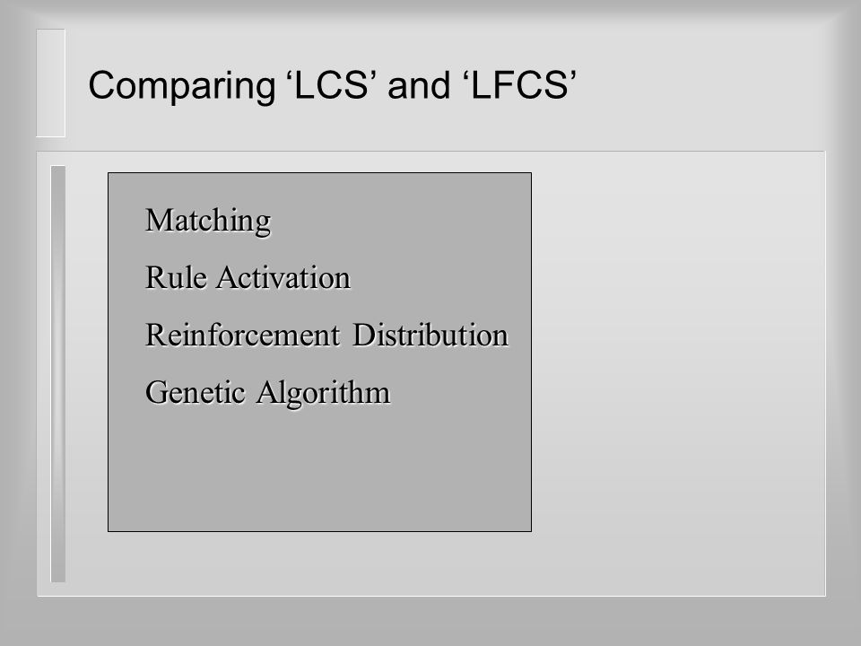 Comparing 'LCS' and 'LFCS' Matching Rule Activation Reinforcement Distribution Genetic Algorithm