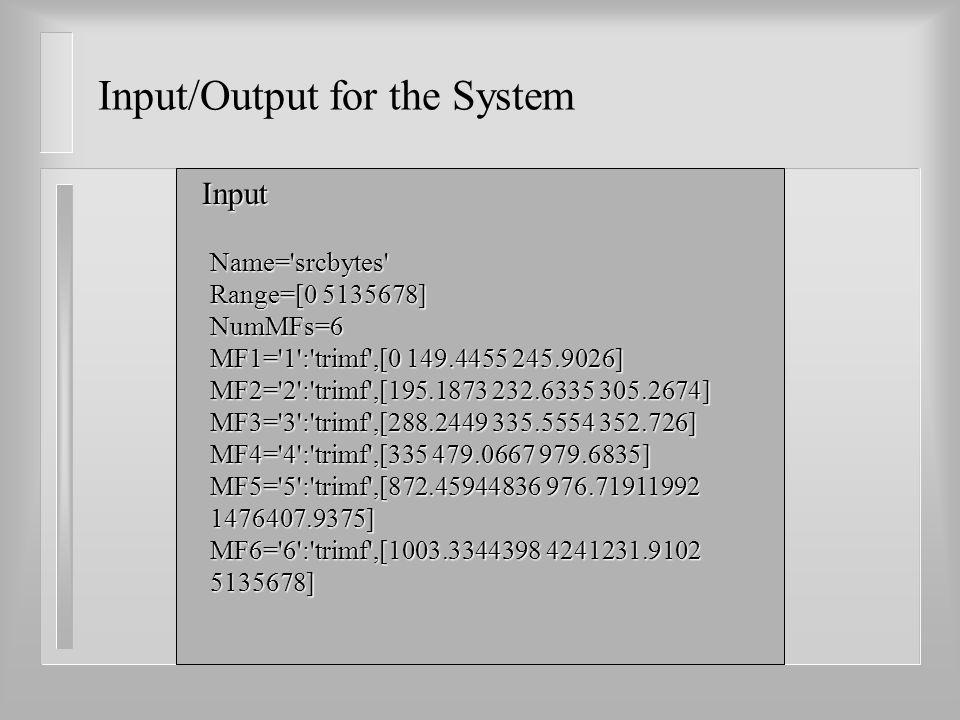 Name= srcbytes Range=[0 5135678] NumMFs=6 MF1= 1 : trimf ,[0 149.4455 245.9026] MF2= 2 : trimf ,[195.1873 232.6335 305.2674] MF3= 3 : trimf ,[288.2449 335.5554 352.726] MF4= 4 : trimf ,[335 479.0667 979.6835] MF5= 5 : trimf ,[872.45944836 976.71911992 1476407.9375] MF6= 6 : trimf ,[1003.3344398 4241231.9102 5135678] Input Input/Output for the System
