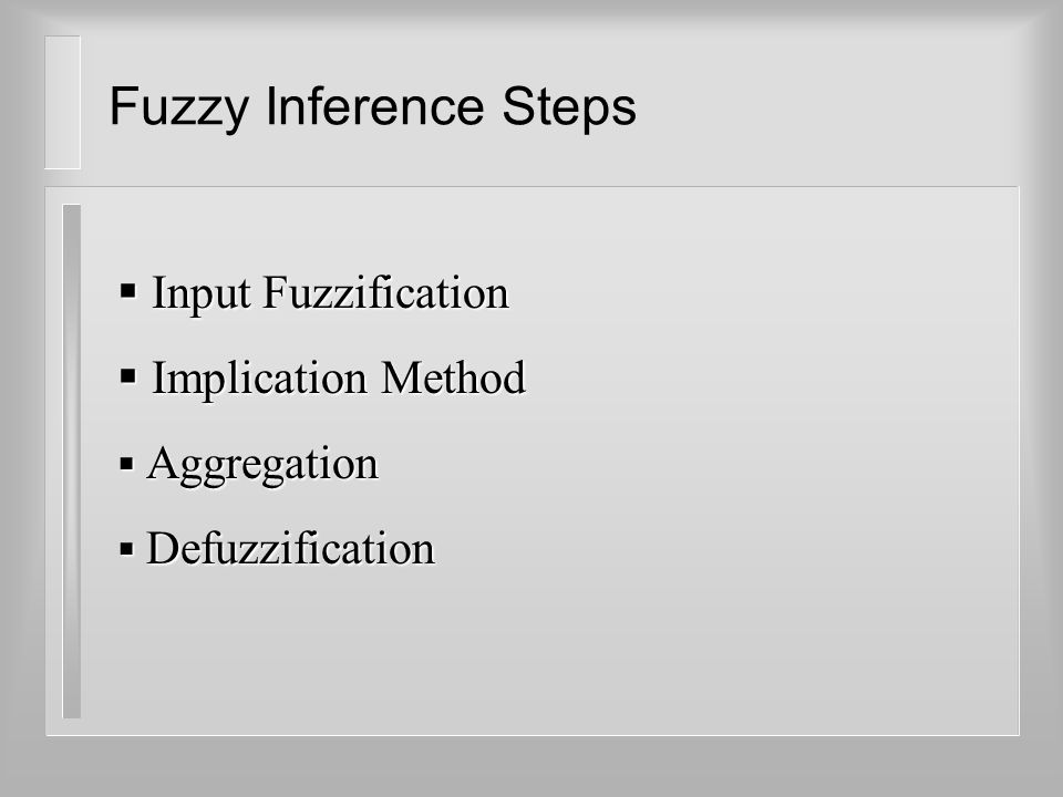 Fuzzy Inference Steps  Input Fuzzification  Implication Method  Aggregation  Defuzzification