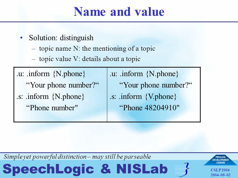 SpeechLogic & NISLab CSLP 2004 2004–09–02 Name and value Solution: distinguish –topic name N: the mentioning of a topic –topic value V: details about a topic.u:.inform {N.phone} Your phone number .s:.inform {N.phone} Phone number .u:.inform {N.phone} Your phone number .s:.inform {V.phone} Phone 48204910 Simple yet powerful distinction – may still be parseable