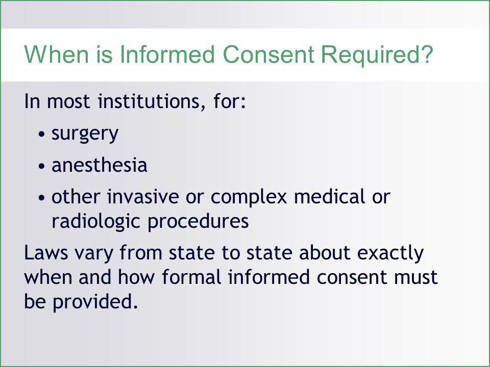 When is Informed Consent Required.