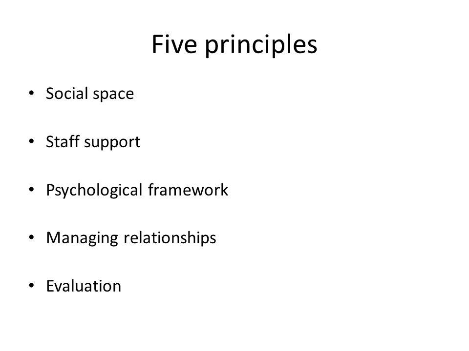 Five principles Social space Staff support Psychological framework Managing relationships Evaluation