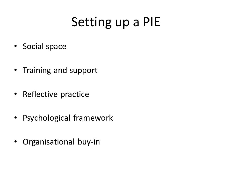Setting up a PIE Social space Training and support Reflective practice Psychological framework Organisational buy-in