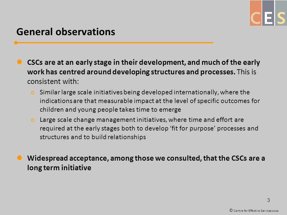 General observations CSCs are at an early stage in their development, and much of the early work has centred around developing structures and processes.