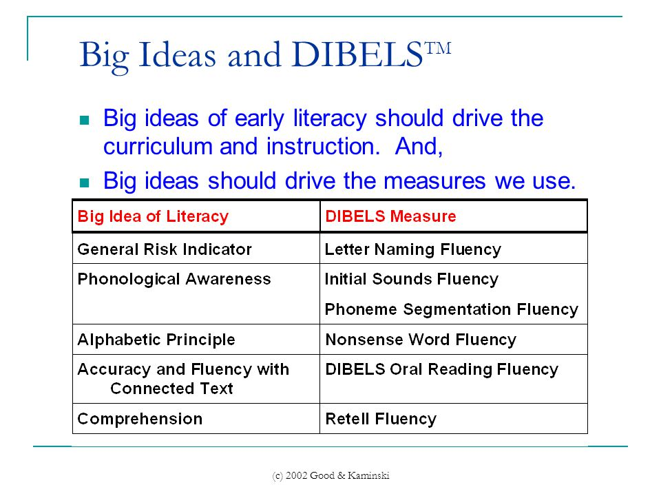 (c) 2002 Good & Kaminski Big Ideas and DIBELS TM Big ideas of early literacy should drive the curriculum and instruction.