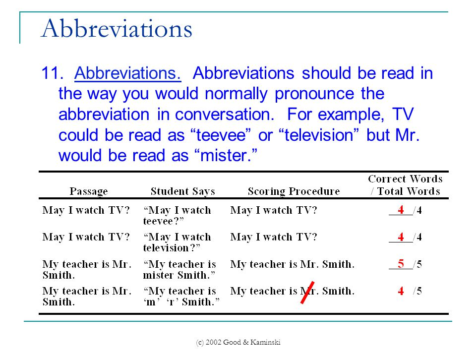(c) 2002 Good & Kaminski Abbreviations 11. Abbreviations.