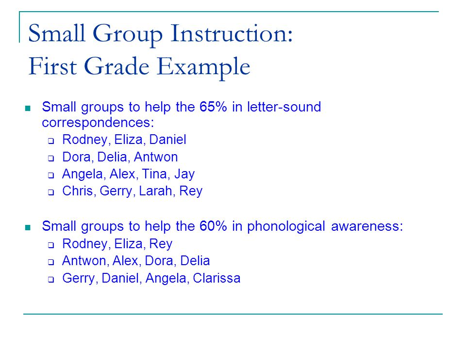 (c) 2002 Good & Kaminski Small Group Instruction: First Grade Example Small groups to help the 65% in letter-sound correspondences:  Rodney, Eliza, Daniel  Dora, Delia, Antwon  Angela, Alex, Tina, Jay  Chris, Gerry, Larah, Rey Small groups to help the 60% in phonological awareness:  Rodney, Eliza, Rey  Antwon, Alex, Dora, Delia  Gerry, Daniel, Angela, Clarissa